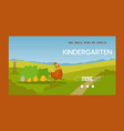 adorable hen and chicks banner vector image vector image