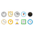 big set different color clock icons alarm vector image