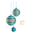 blue and gold christmas bauble decor vector image