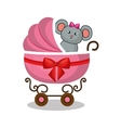 cart baby with cute stuffed animal vector image