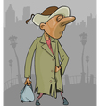 cartoon homeless man in a tattered coat with bag vector image vector image