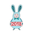 cute christmas bunny with 2018 number new year vector image vector image