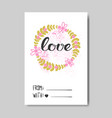 cute valentine day greeting card doodle design vector image