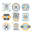 drone or quadrocopter set of colored emblems vector image vector image