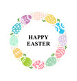 easter decorative round frame eggs vector image