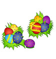 easter eggs in the grass nest object on white vector image