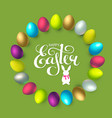 easter wreath with 3d colorful eggs and lettering vector image