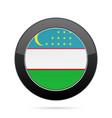 flag of uzbekistan shiny black round button vector image vector image