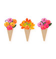 flowers bouquet in a cone background vector image vector image