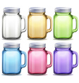 Glass jars in six different colors vector image vector image