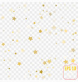 gold confetti gold stars on transparent background vector image vector image