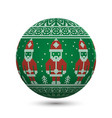 green knitted christmas ball isolated on white vector image vector image