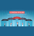 group of hands holding umbrella unger huge rain vector image vector image