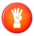 Hand showing number four icon flat style vector image vector image