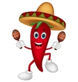 Happy chili pepper cartoon dancing with maracas vector image vector image