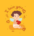 happy valentine day card with cupid angel vector image vector image