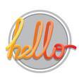 hello sign calligraphic hand written hello script vector image vector image