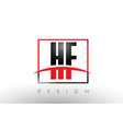 hf h f logo letters with red and black colors and vector image vector image