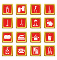 house cleaning icons set red vector image vector image