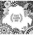 Invitation card with a floral doodle frame vector image vector image