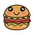 kawaii cartoon burger fast food vector image vector image