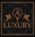 luxury monogram letter a crest abstract element vector image vector image