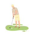 man playing golf male golfer training with golf vector image vector image