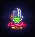 marijuana medical neon sign and logo graphic vector image vector image