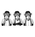 monkey businessman in the shirt and suspender vector image