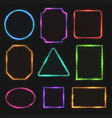 multicolored neon border frames simple vector image vector image