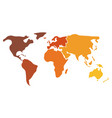 multicolored world map divided to six continents vector image vector image