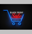 neon shopping cart black friday sale vector image