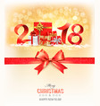 new year background with a 2018 and gift boxes vector image vector image