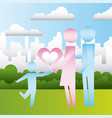 parents and son heart in the city family vector image