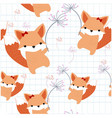 pattern seamless cute foxy fox in the sky vector image vector image