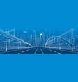 pedestrian bridge across the highway vector image