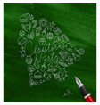 pen line drawing christmas tree toy bell green vector image vector image
