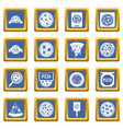 pizza icons set blue vector image vector image