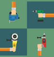 power tools set flat design style vector image vector image