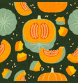 pumpkins seamless pattern whole cut harvest vector image vector image