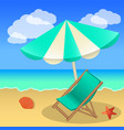 rest on the beach beach umbrella sun lounger sand vector image