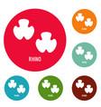 rhino step icons circle set vector image vector image