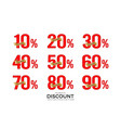 sale discount number set tag number discount vector image vector image