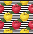 seamless pattern ripe red and yellow apples vector image
