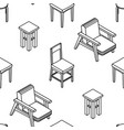 seamless pattern with line drawn isometric chairs vector image vector image