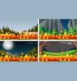 set bush fire landscape vector image vector image