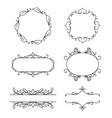 set decorative frames floral ornament vector image