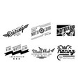 set of 6 vintage logos for moto club vector image