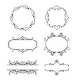 set of decorative frames floral ornament vector image