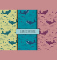 set of sea seamless patternswhale fish starfish vector image